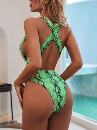Elegant Green Cross Back One Piece Swimwear Wireless Women Fashion