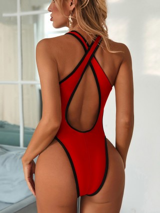 Bright Red Cross Back Swimsuit Hollow Out Deep-V Pool Party