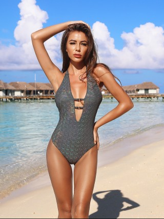 Unique Black Backless Halter One Piece Swimsuit Fashion