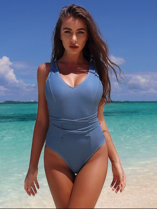 Lavish Blue Tie Back 1-Piece Swimsuit High Cut Slim
