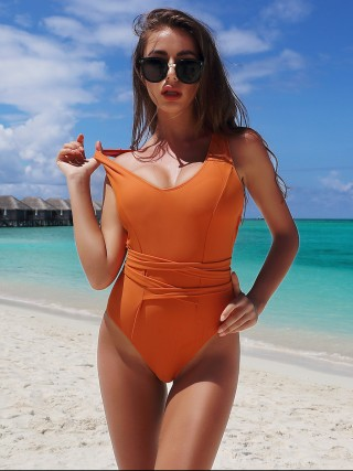 Large Bust Orange Solid Color Beachwear Backless Tie