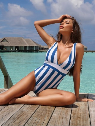 Ravishing Blue Beachwear Stripe Printed High Cut Sexy