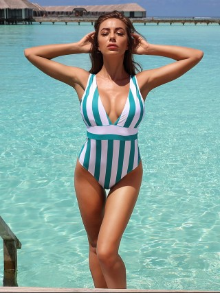 Retro Green Stripe High Waist One-Piece Beachwear Soft