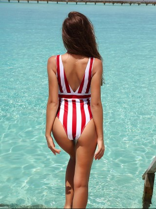 Red Stripe Print Swimwear Deep V Neck Superior Quality