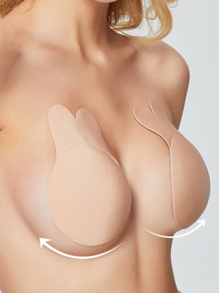 Extravagant Skin Color Invisible Bra Rabbit Ears Shape Breath