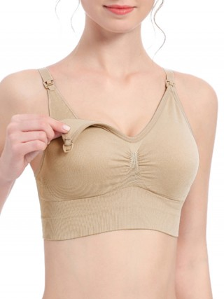 Comfort Skin Color V-Neck Nursing Bra Wide Hem Pleated Inside Fashion