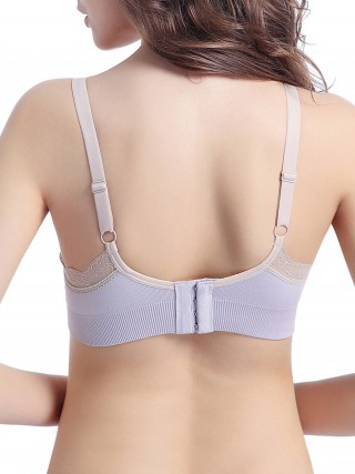 Purple Backless Adjustable Strap Lace Nursing Bra For Female Fashion