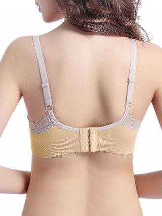 Classical Skin Color V-Collar Removeable Cups Maternity Bra Airing Underwear