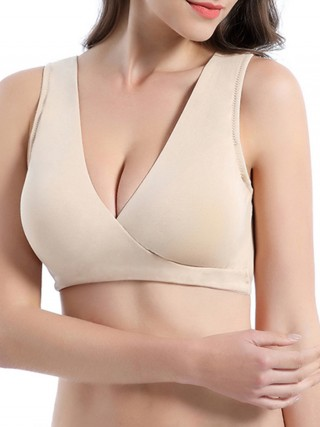 Convertible Skin Color Breastfeeding Bra Cross V-Neck Ruched All Over Comfort