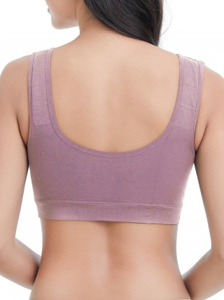 Funny Purple Wireless Nursing Bra Deep-V Neck Strap Breathable
