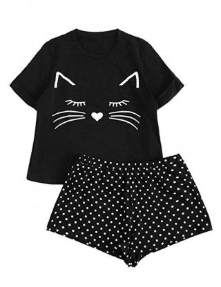 Black Round Neck Short Sleeve Cartoon Sleep Set For Cutie Fashion