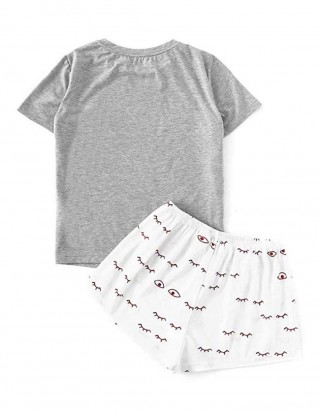 Clip Perfect Gray Letter Print Short Pants Sleep Suit Stretch