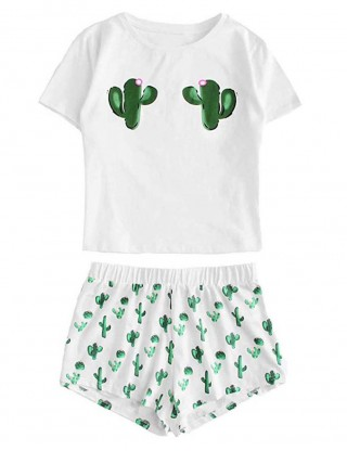 Sensual Cactus Printed Round Neck Sleepwear Set For Slim Woman