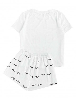 Breath White Two Pieces Cute Pattern Sleepwear Close Fitted Style