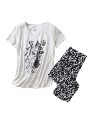 Cute Zebra Print V Collar Sleep Suit Fashion Online For Lady