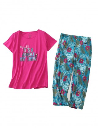 Sweet Floral Print T-Shirt And Long Pants Pajama Set High Quality