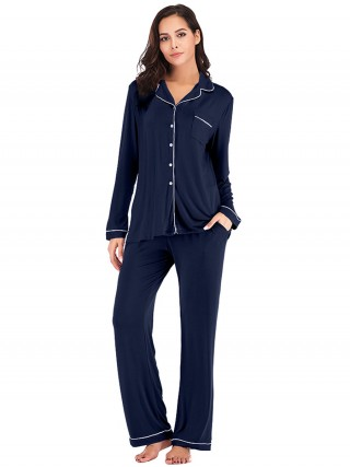 Breathtaking Navy Blue 2-Piece Pajamas Long Sleeve Full Length Modern Fit