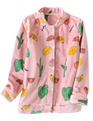 Latest Beige Long Sleeve Sleepwear Top Fruit Pattern Online
