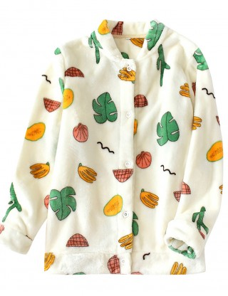 Springtime Beige Fruit Paint Pajama Top Button Front Top Quality
