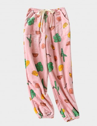 Fantasies Pink Pajama Fruit Pattern Pants Full Length Comfortable