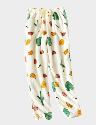 Explosive White Flannel Pajama Fruit Pants Drawstring Slim Woman