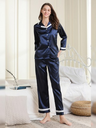 Slutty Navy Lapel Neck Front Button Nightwear Set Unique Fashion