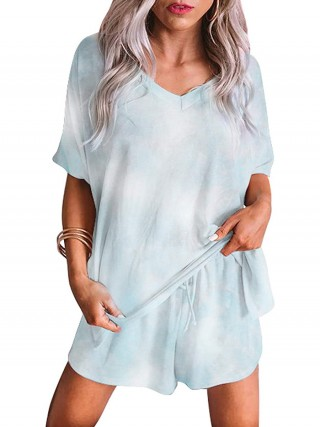 Elaborate Light Blue Short Sleeve Pajamas Side Pockets Mature Women