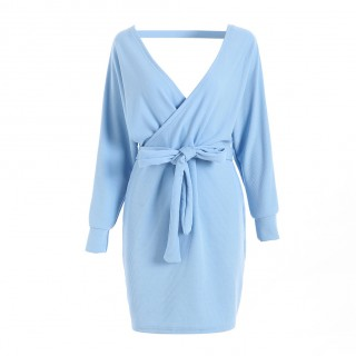 Long Sleeve Open Back Knit Blue Sweater Dress