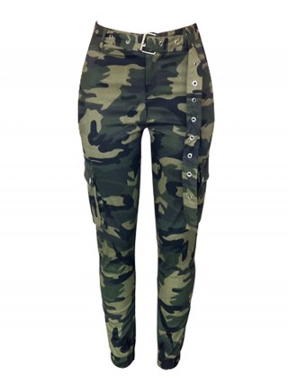 Young Lady Cargo Camouflage Pants Matching Belt Casual Comfort