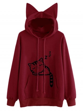 Relaxed Wine Red Cat Ears Cartoon Hoodie Drawstring All Over Smooth