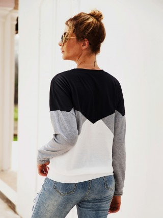 Effortless Gray Crew Neck Sweatshirt Long Sleeve For Sexy Women
