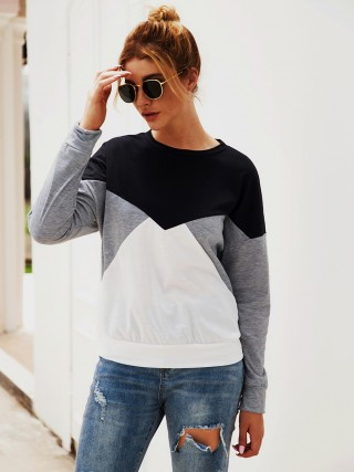 Effortless Gray Crew Neck Sweatshirt Long Sleeve For Women