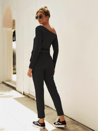 Minimalist Black Solid Color Top Full Length Pants High Elasticity