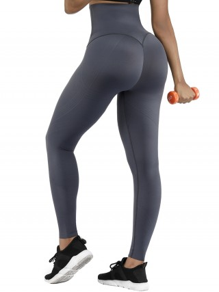 Gray 3D Printing High Waist Yoga Leggings Butt Lifts