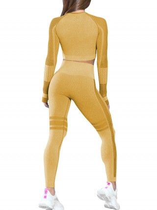 Yellow Solid Color Hollow Out Thumb Hole Sports Suit Ultra Cheap
