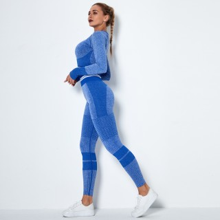 2020 European and American Blue high-waist hip-lifting stretch tights stretch pants seamless knitted peach hip-lifting yoga pants Blue