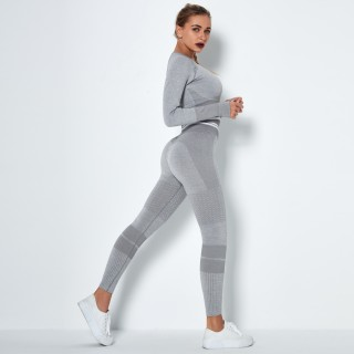 2020 European and American Grey high-waist hip-lifting stretch tights stretch pants seamless knitted peach hip-lifting yoga pants Gray