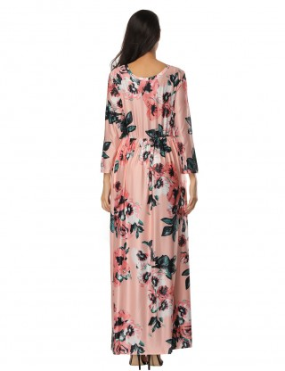 Graceful Pink Flower Pattern Long Dress Elastic Waist