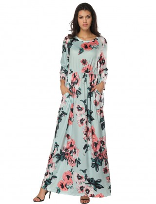 Ethereal Sleeved Round Neck Blossom Flower Maxi Dress