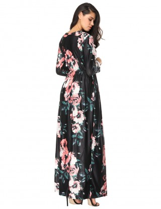 Enchanting Long Sleeves Multi Flower Draped Dress Pockets