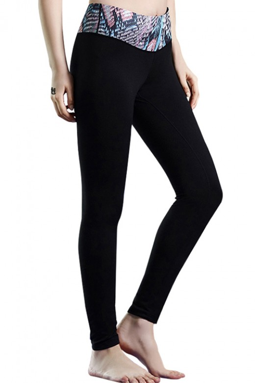 Womens Snake Print Waistband Black Slimming Yoga Pants Wholesale
