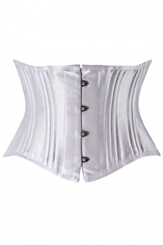 Silver Queen Size 26 Double Steel Boned Hook Eyes Lace-up Cheap Waist Cincher