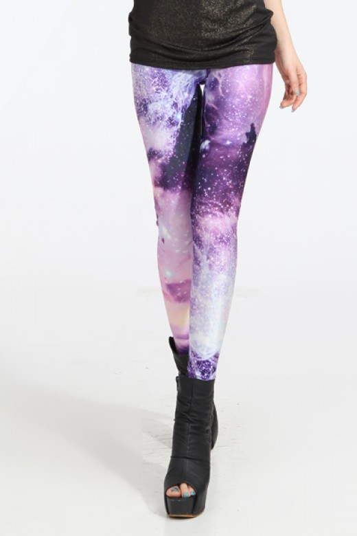 Sexy Galaxy Tight Light Purple Leggings
