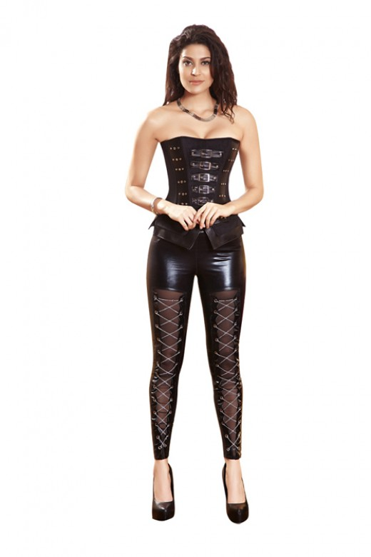 12 Plastic Boned Women Black Corset With zipper