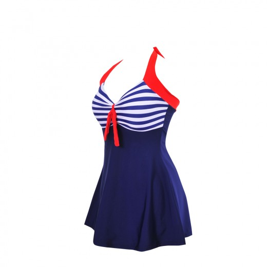 Perfectly Striped Cups Skirted Swimsuit Plus Size One Piece