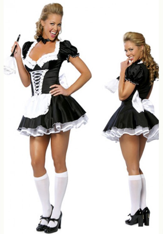 Luxurious Lace Up Bowknot High Quality French Maid Costume