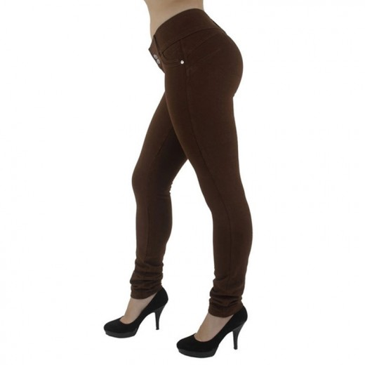 Natural Curve Smoothing Front Buttons Brown Levanta Cola Pants