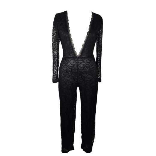 Sensual Black Long Sleeve Jumpsuit Deep V Neck Lace