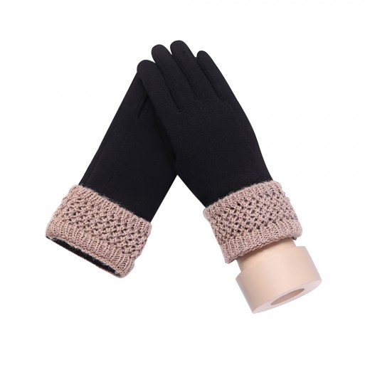 Classy Thick Black Cold Weather Gloves Riding Mittens