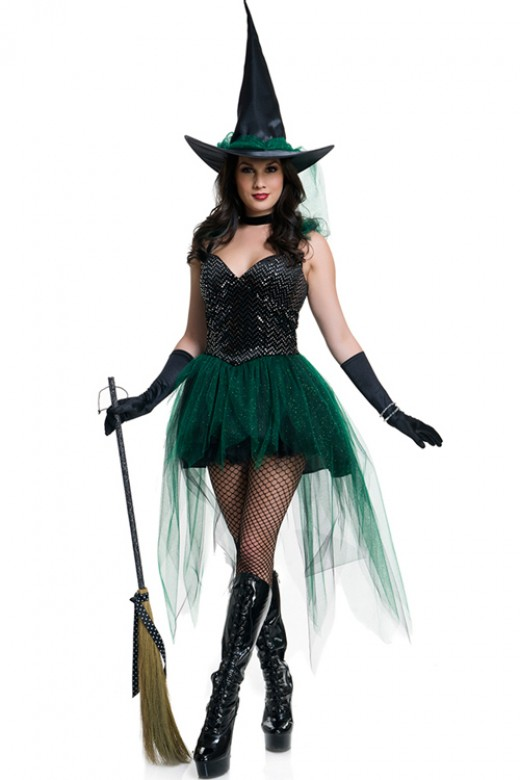 Sorceress Sparkly Sequin Emerald Witch Costume